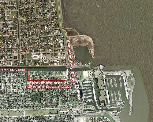 Close-up annotated satellite picture of the location of the 17th Street Breach