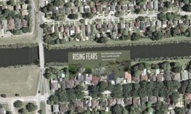 MSNBC scare graphic, superimposed on a satellite photo of the neighborhood